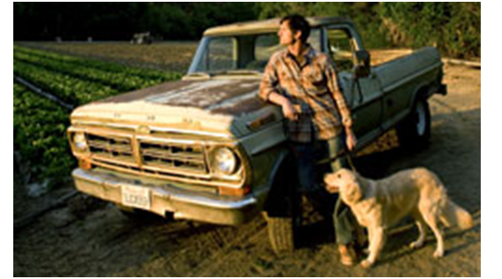 Man with truck and dog